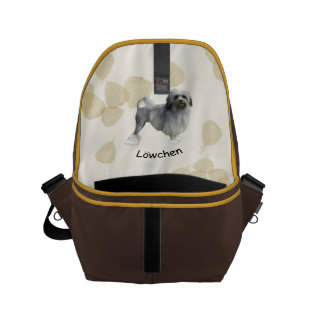 Lowchen with Tan Leaves Messenger Bags