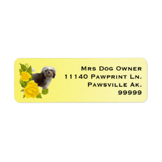 Lowchen with Yellow Roses Return Address Label