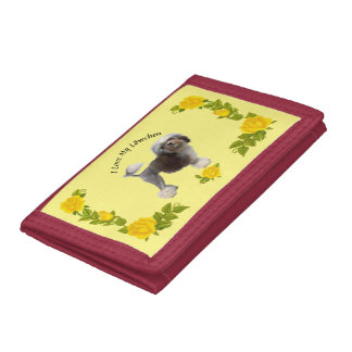 Lowchen with Yellow Roses Tri-fold Wallets