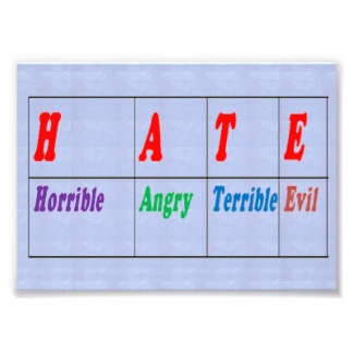 LowCost DECORATIONS on KODAK Paper : Text HATE Art Photo