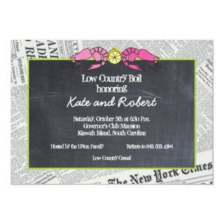 Lowcountry Boil Newsprint Invitation