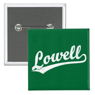 Lowell script logo in white distressed 2 inch square button