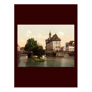Lower bridge and city hall Bamberg Bavaria Postcard