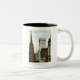 Lower Broadway NY 1897 Vintage Two-Tone Coffee Mug