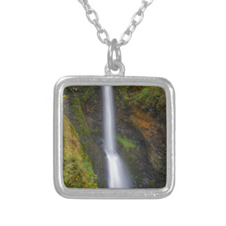 Lower Butte Creek Falls in Fall Season Silver Plated Necklace