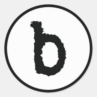 lower case b round sticker