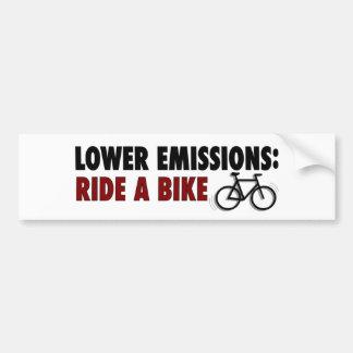 Lower Emissions Ride A Bike Bumper Stickers