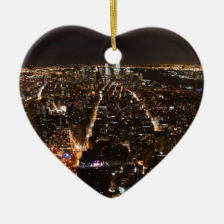 Lower Manhattan AT night from the Empire Ceramic Ornament