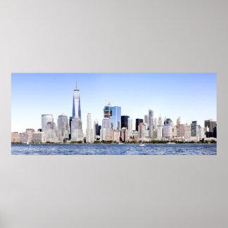 Lower Manhattan Color Sketch Panorama Poster