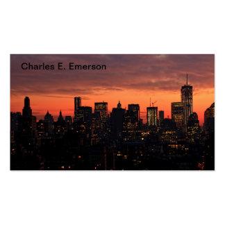 Lower Manhattan Skyline at Twilight, Pink Sky A1 Business Card