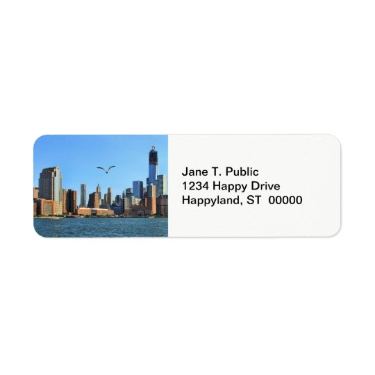 Lower Manhattan Skyline: WTC, Woolworth Return Address Label