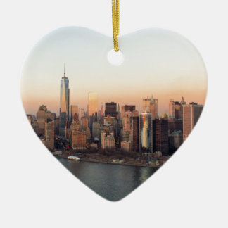 Lower Manhattan Sunset WTC Freedom Tower NYC Ceramic Ornament