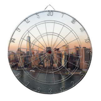 Lower Manhattan Sunset WTC Freedom Tower NYC Dartboard