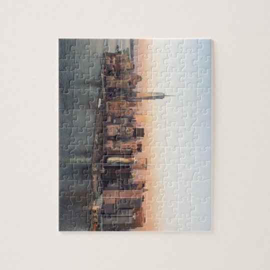 Lower Manhattan Sunset WTC Freedom Tower NYC Jigsaw Puzzle