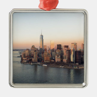 Lower Manhattan Sunset WTC Freedom Tower NYC Metal Ornament