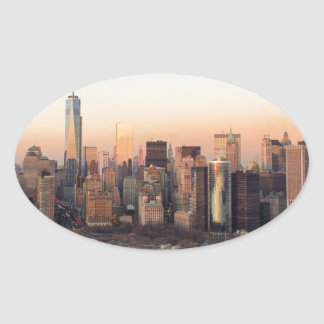 Lower Manhattan Sunset WTC Freedom Tower NYC Oval Sticker