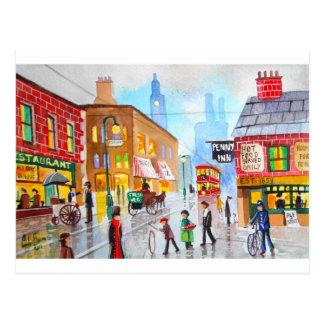 Lowry inspired busy street scene painting tram postcard