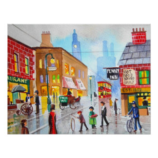 Lowry inspired busy street scene painting tram poster