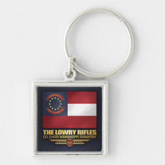 Lowry Rifles Silver-Colored Square Keychain