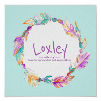 Loxley feather beads wreath name meaning poster