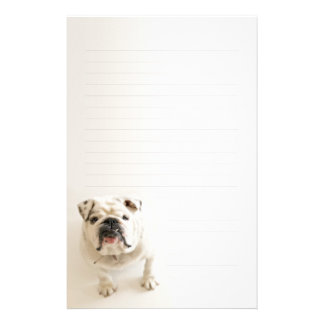 Loyal White Bulldog Lined Writing paper