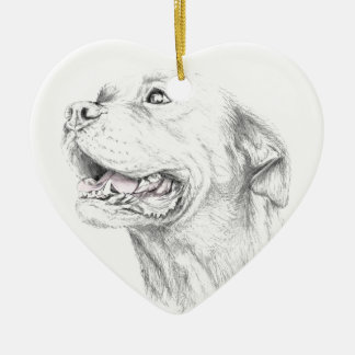 Loyalty, An American Staffordshire Terrier Ceramic Heart Ornament