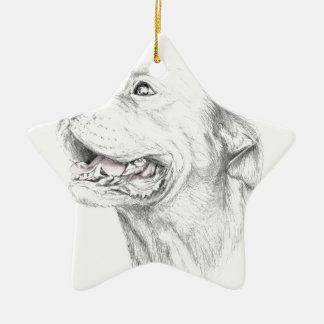 Loyalty, An American Staffordshire Terrier Ceramic Star Ornament