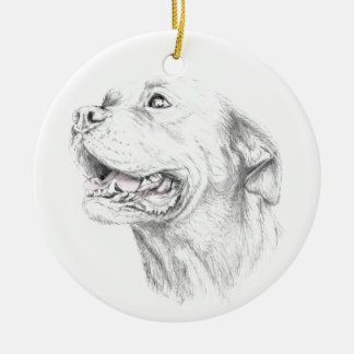 Loyalty, An American Staffordshire Terrier Round Ceramic Ornament