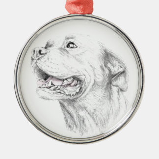 Loyalty, An American Staffordshire Terrier Silver-Colored Round Ornament