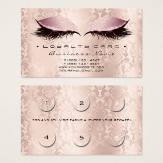 Loyalty Card 6 Beauty Damask Lashe Studio SPA Pink