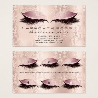 Loyalty Card 6 Beauty Salon Lashes Damask Pink Lux
