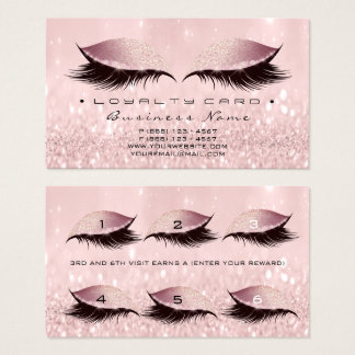Loyalty Card 6 Beauty Salon Lashes Rose Pink Glam