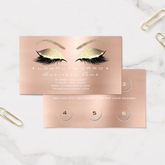 Loyalty Card 6 Beauty Salon Lashes Rose Pink Gold