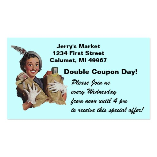 Loyalty Card Double Coupon Grocery Store Promotion Business Card Template