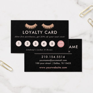 Loyalty Card Eyelashes Makeup Artist Rose Gold