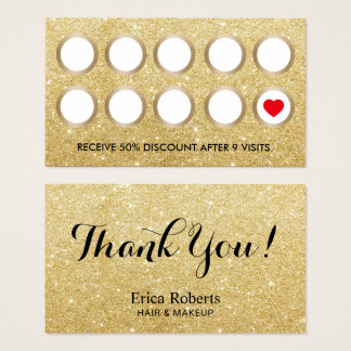 Loyalty Card | Modern Gold Glitter Beauty Salon