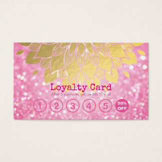 Loyalty Card Pink Glitter Gold Floral Makeup Hair