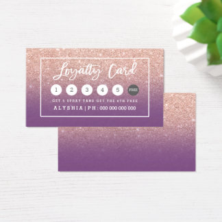 Loyalty card rose gold typography purple