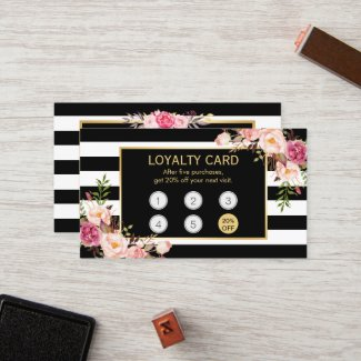 Loyalty Card Vintage Gold Floral Beauty Salon-Loyalty programs for spas