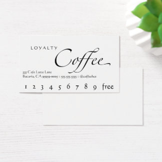 Loyalty Coffee Punchcard White With Black Text Business Card