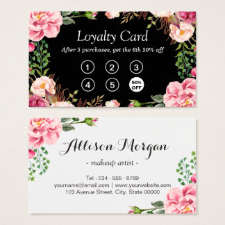 Loyalty Punch Card   Girly Pink Floral Wrapping