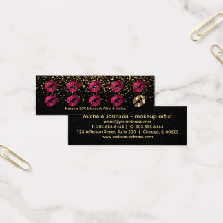 Loyalty Punch Card - Hot Pink Glitter and Gold 3