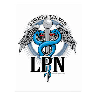 LPN Caduceus Blue Postcard