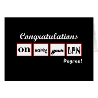 LPN Degree - CUSTOM NAME Congratulations - Greeting Card