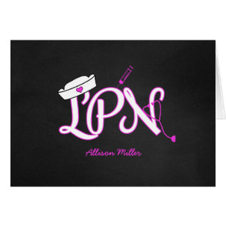 LPN hot pink thank you card, nurse graduation gift Card
