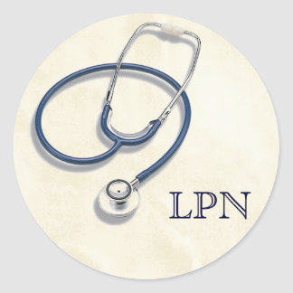 LPN Licensed Practical Nurse Round Sticker