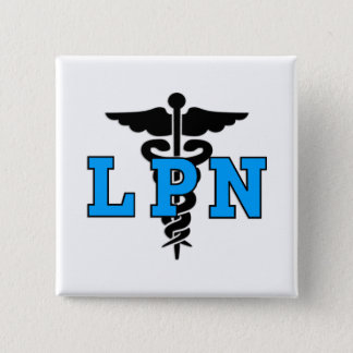 LPN Medical Symbol 2 Inch Square Button