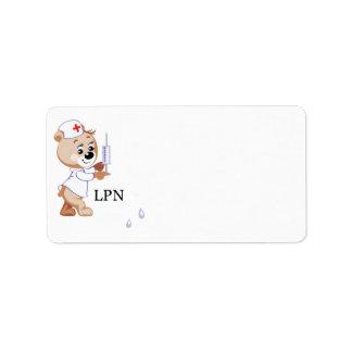 LPN Nurse Bear Personalized Address Labels