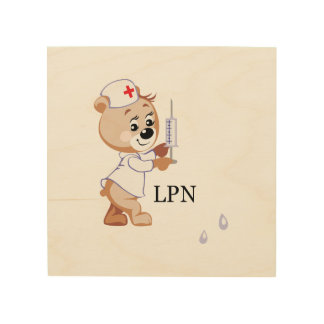 LPN Nurse Bear Wood Canvases