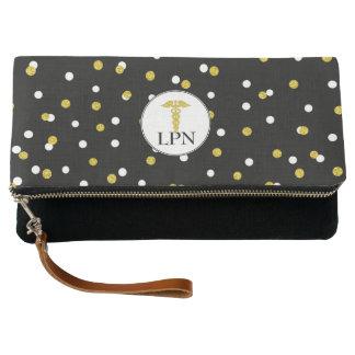 LPN nurse clutch with caduceus gold confetti